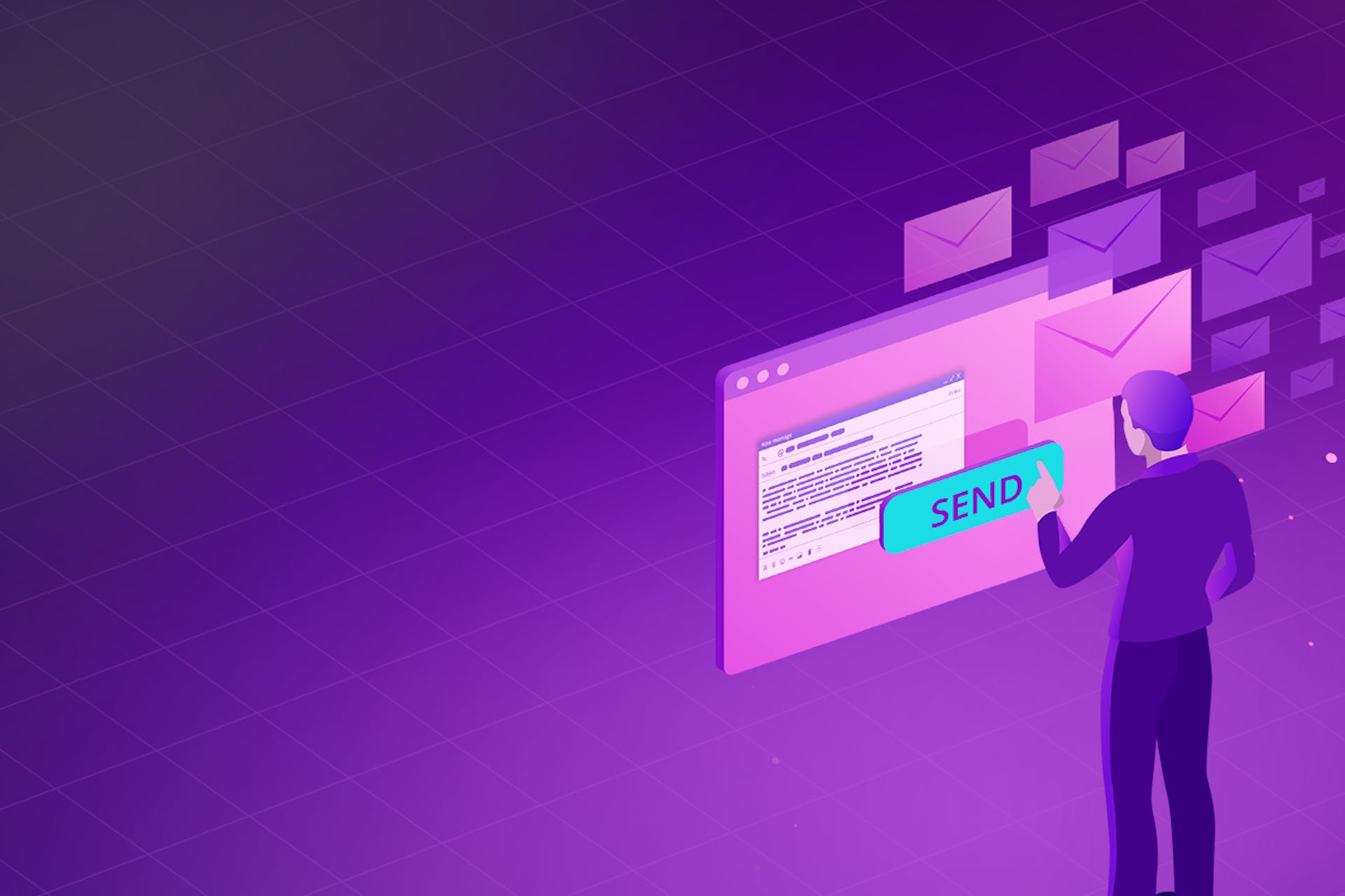 An illustration of a man sending an email against a purple backdrop