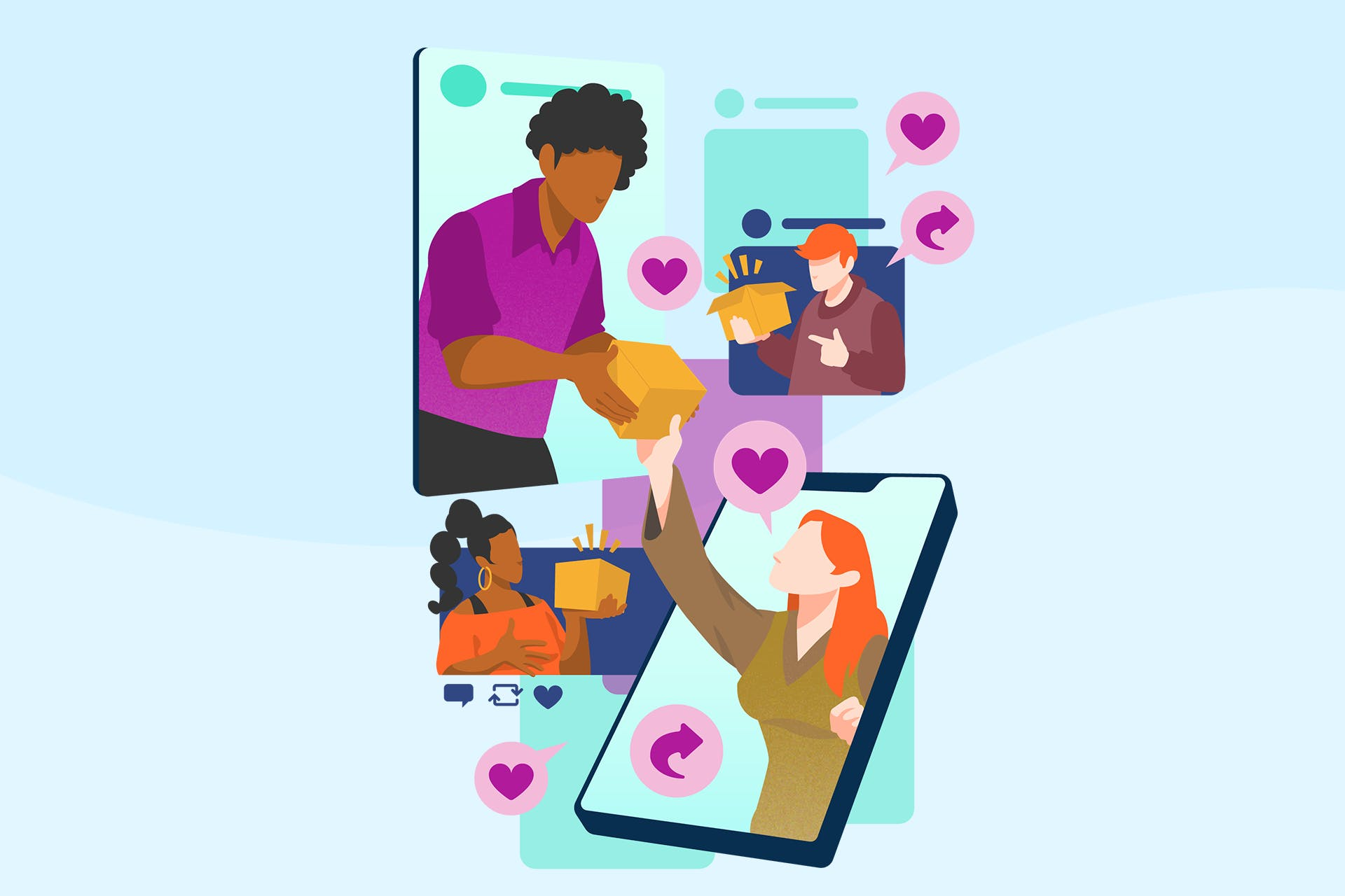 An illustration showing four people within the phone screens that are holding boxes that they are discussing with one another. These type of product reviews are referred to as user-generated content when shared through when done through social media.