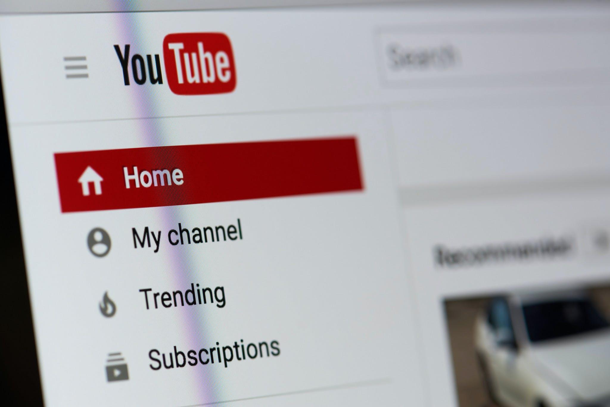 YouTube home screen