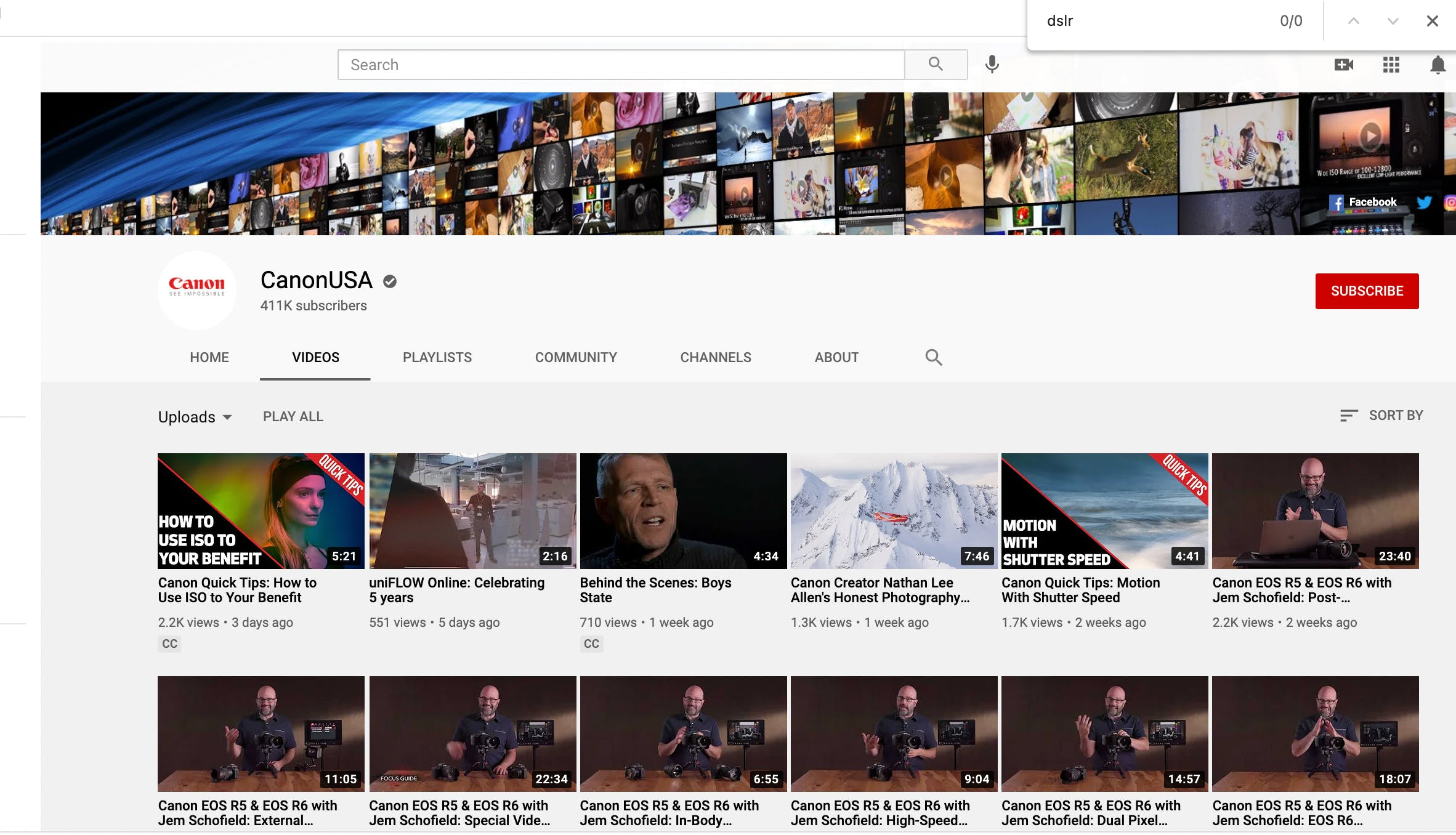 Canon camera YouTube page with product overview videos