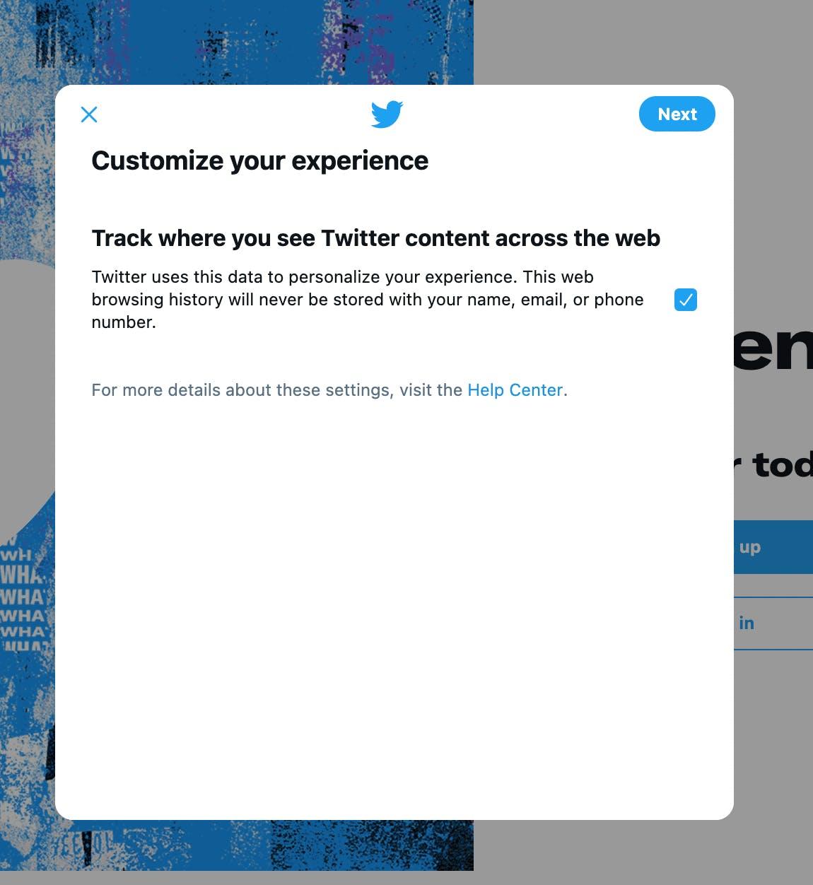 Data preference selection on Twitter profile setup