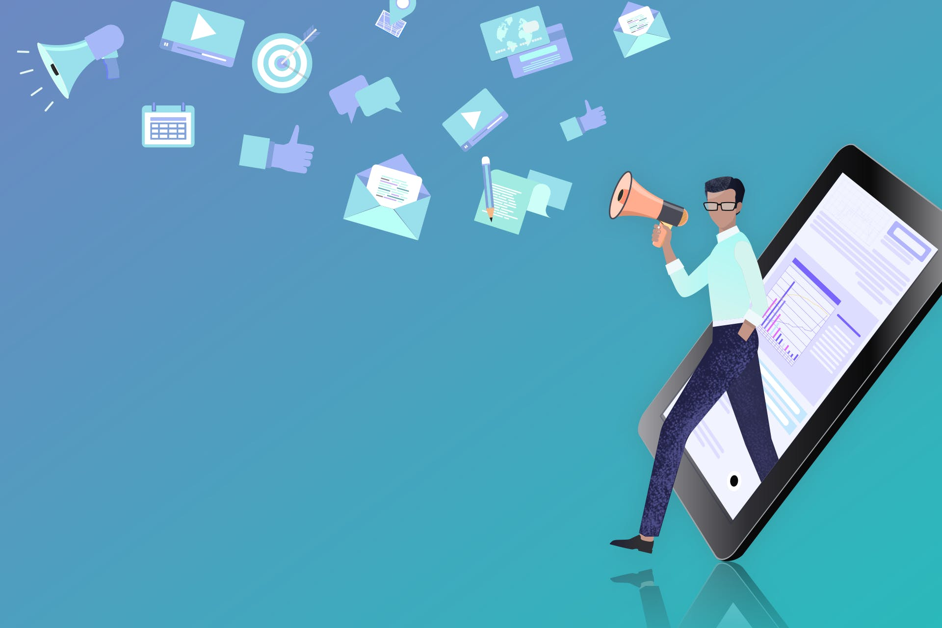 """A cartoon image of a man stepping out of an iPad holding a megaphone. Different icons, like an email, calendar and Facebook """"Like"""" button, hover above his head. The icons represent all of the different forms of content marketing, such as email marketing, social media marketing, etc."""