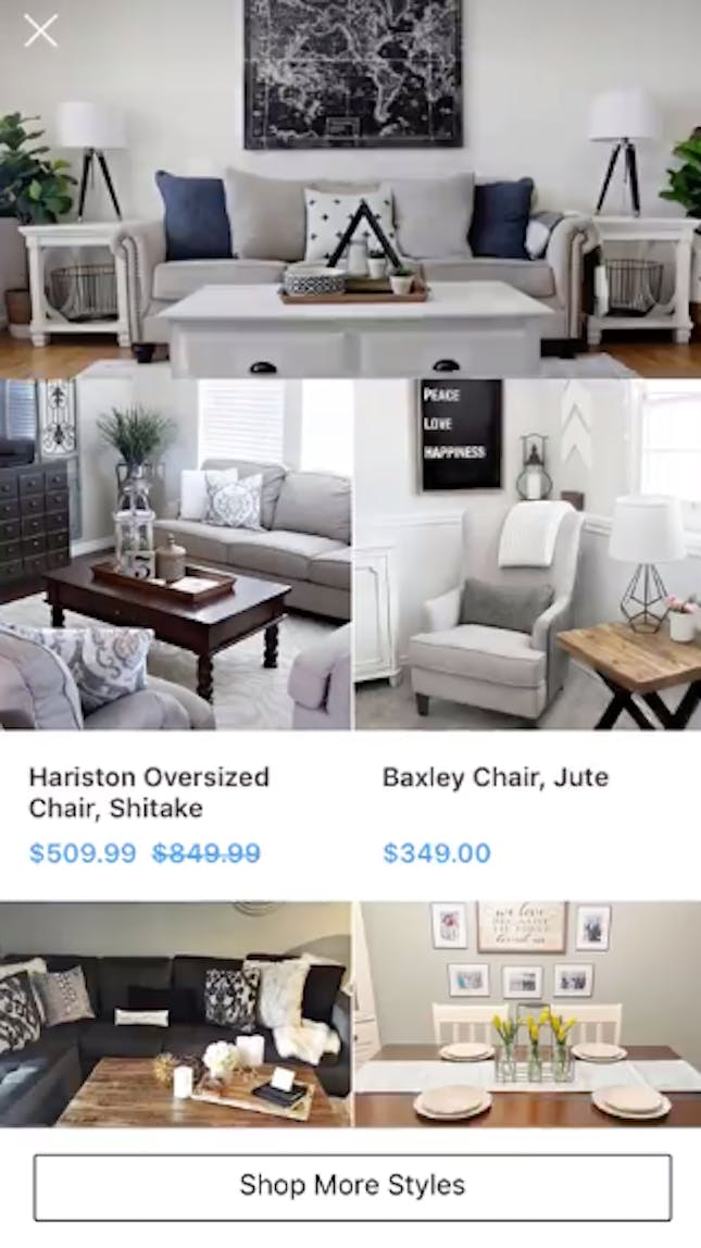 An Instagram Collection ad for furniture — clicking on a tile leads to the brand's product catalogue