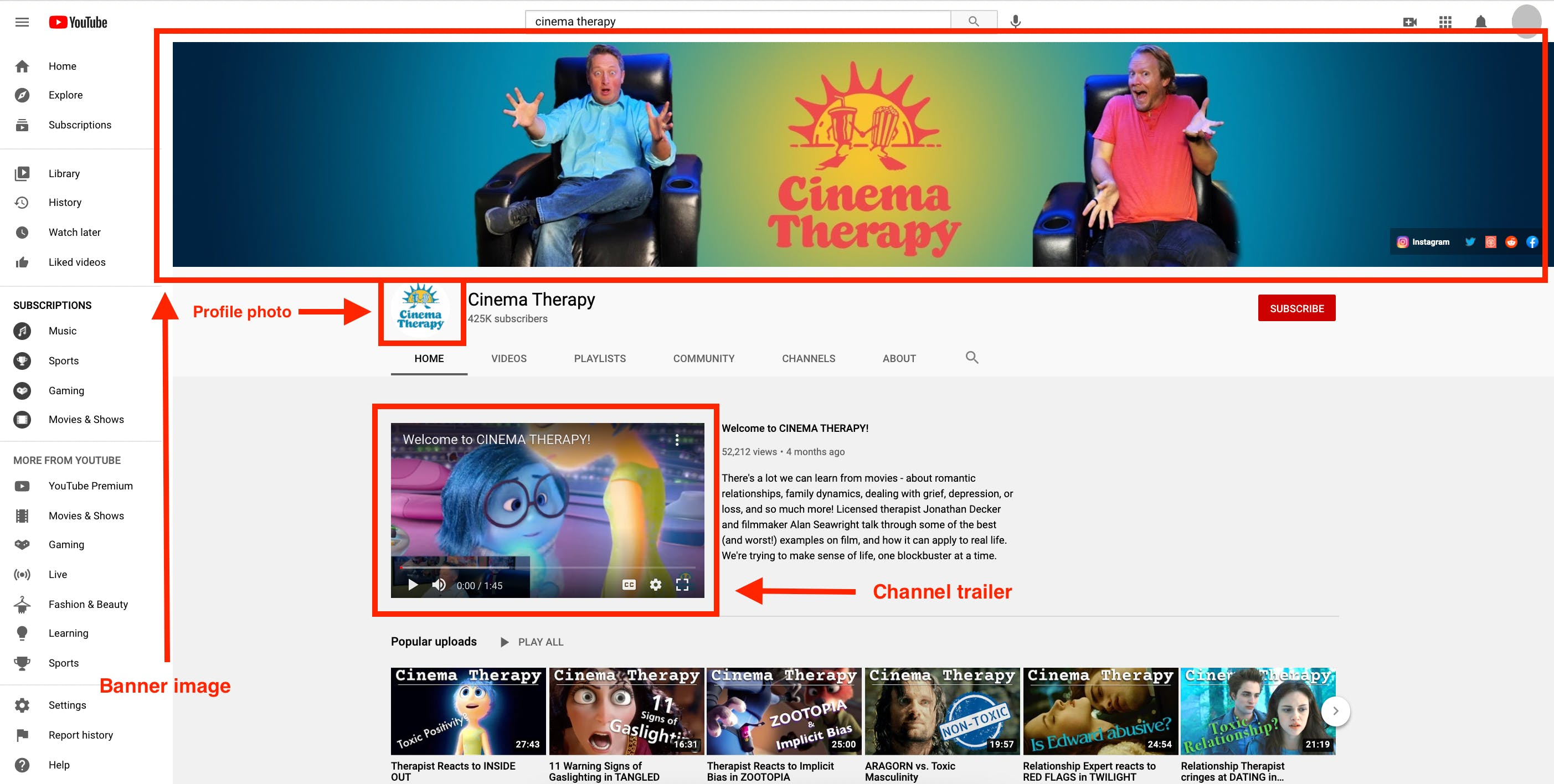 Example of a YouTube channel indicating locations for channel banner at the top, profile photo, and channel trailer