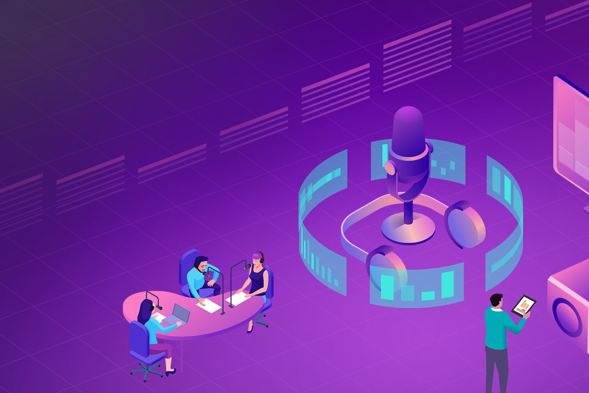 Illustration of a podcasting studio against a purple backdrop