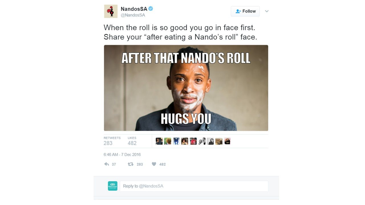 Nandos encourages audiences to interact with their micro-campaigns on Twitter