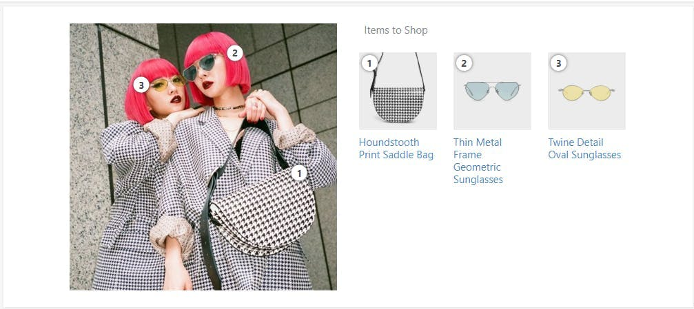 Influencers modeling bag on Instagram post with spectacles