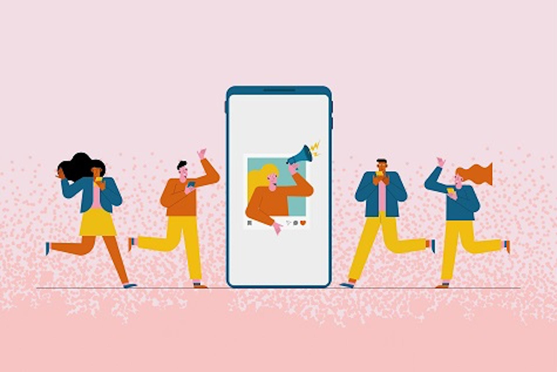 Man sieht eine Comic-Darstellung von Menschen, in der Mitte ist ein Smartphone zu sehen, in dem eine Person mit einem Megafon ruft. Das Bild ist das Titelbild für unseren Beitrag zu B2B Influencer Marketing