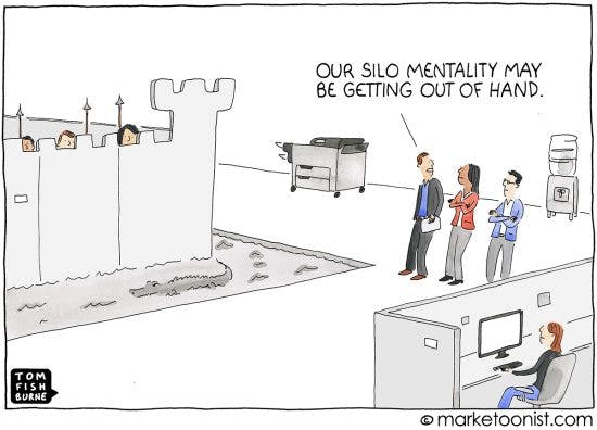 """Cartoon sketch by marketoonist showing the silo mentality of office. Cartoon characters look beyond a castle built in an office while others look on stating """"out silo mentality may be getting out of hand""""."""
