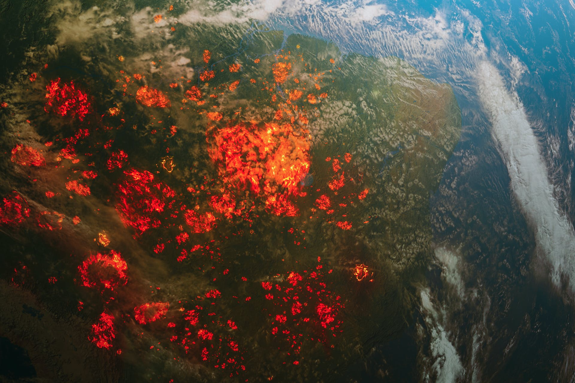 An image of the world on fire