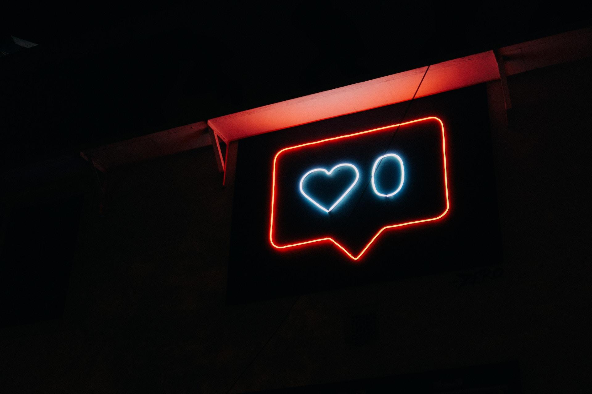 neon lights sign showing zero likes