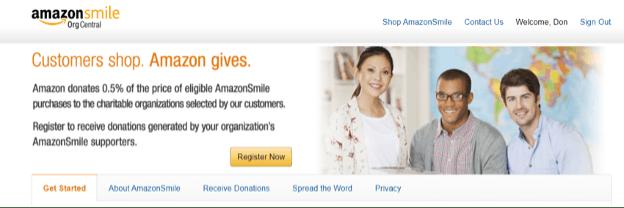 Amazon Smile donation information.