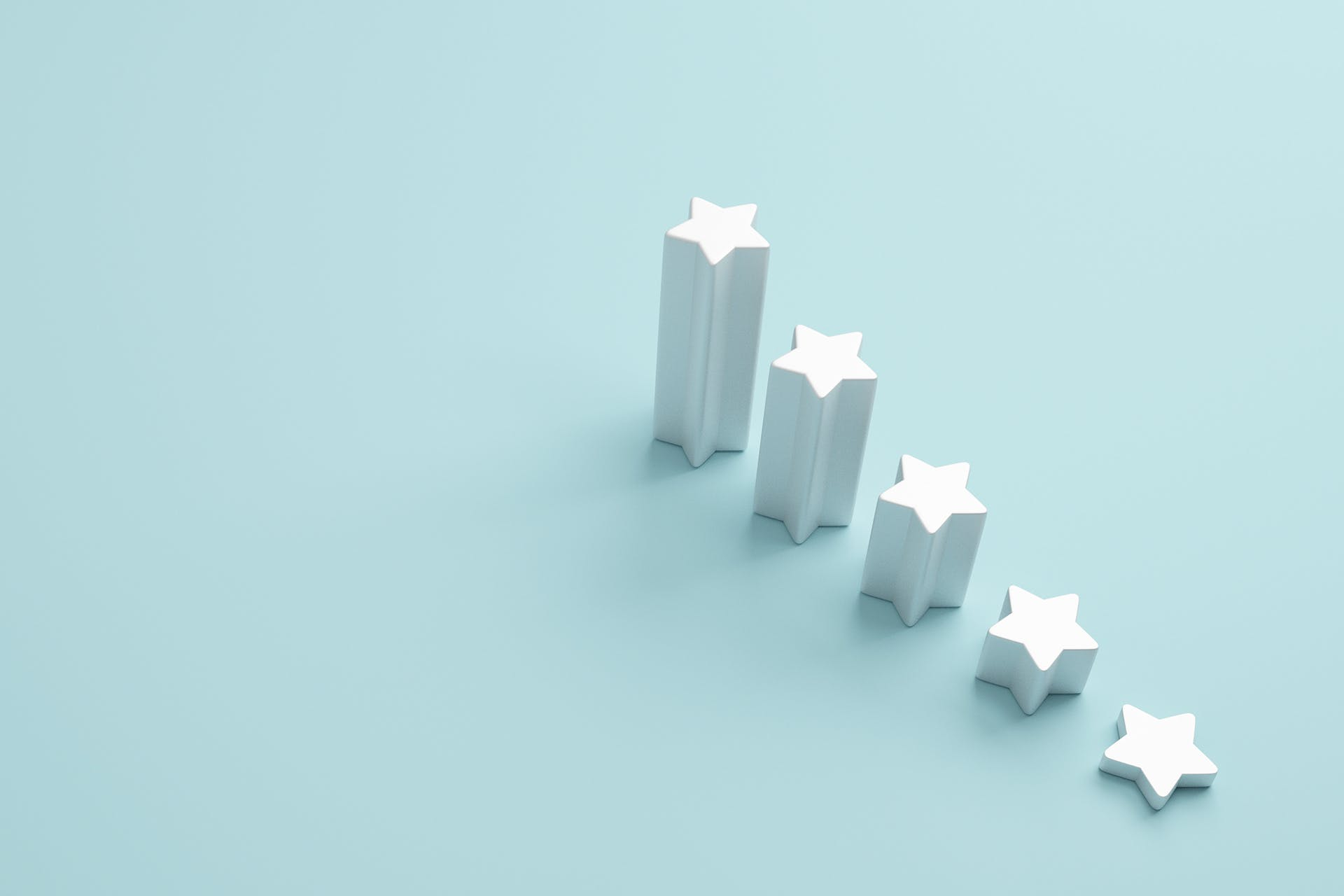 5 stars on a blue background for facebook recommendations and reviews