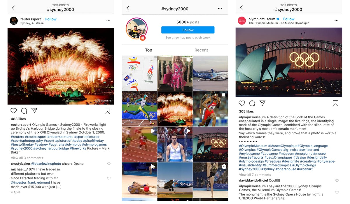 L to R: A post made by Reuters commemorating the 2000 Sydney Olympics, the hashtag feed for that tag, a post by Olympic Museum referencing the Sydney Olympics