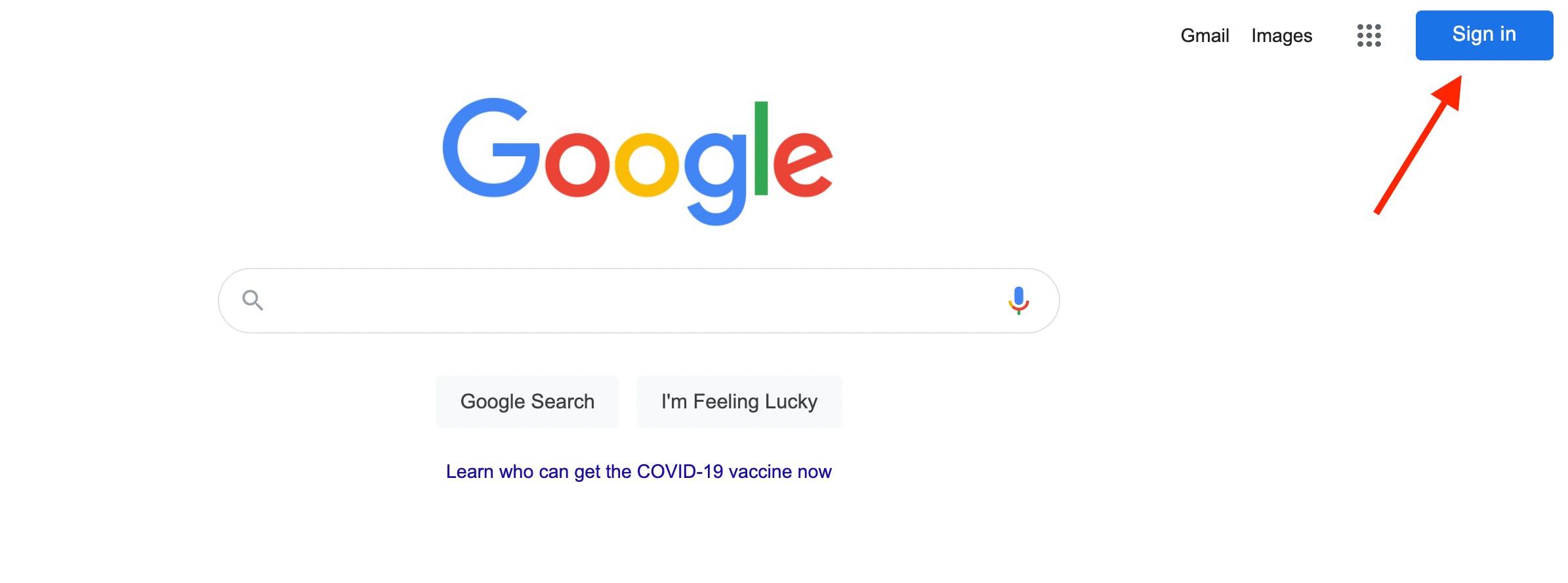 Google create account page.