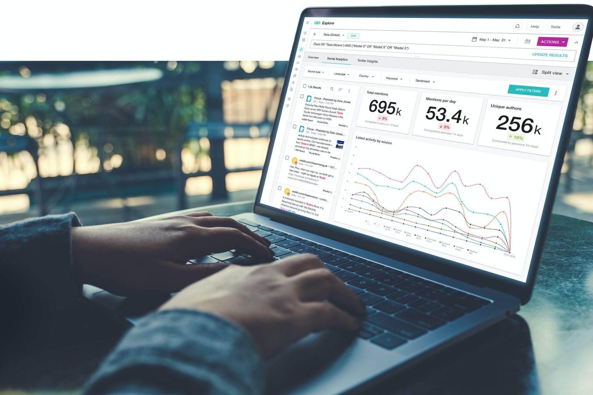Ein Mann arbeitet an einem Laptop. Auf dem Display sind verschiedene statistische Daten zu sehen, die von einem Competitive Intelligence Tool generiert werden. Dieser Leitfaden wird euch helfen, das Konzept von CI zu verstehen und wie es eurem Unternehmen nützen kann.