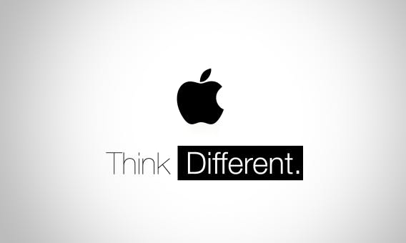 apple brand logo with think different text