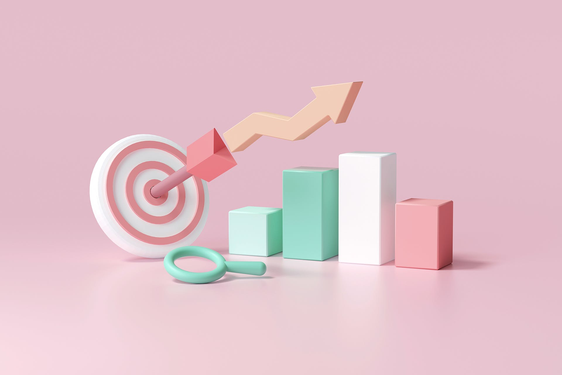 A collection of objects, like a bullseye target, bar chart and magnifying glass, that are meant to represent social media marketing metrics small businesses could evaluate