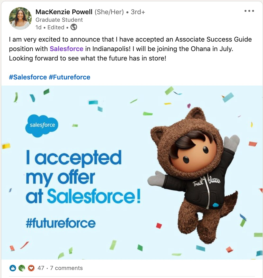 An example of how an employee's excitement around joining a particular company can help portray the brand in a positive light, as well as how a company can facilitate such posts by providing branded social imagery.