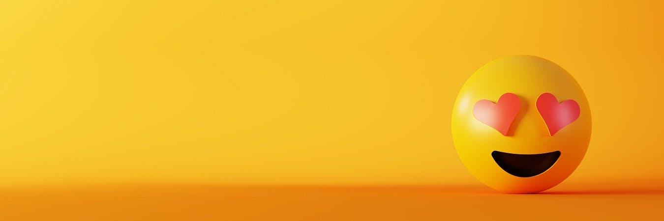 Smiling emoji on yellow background