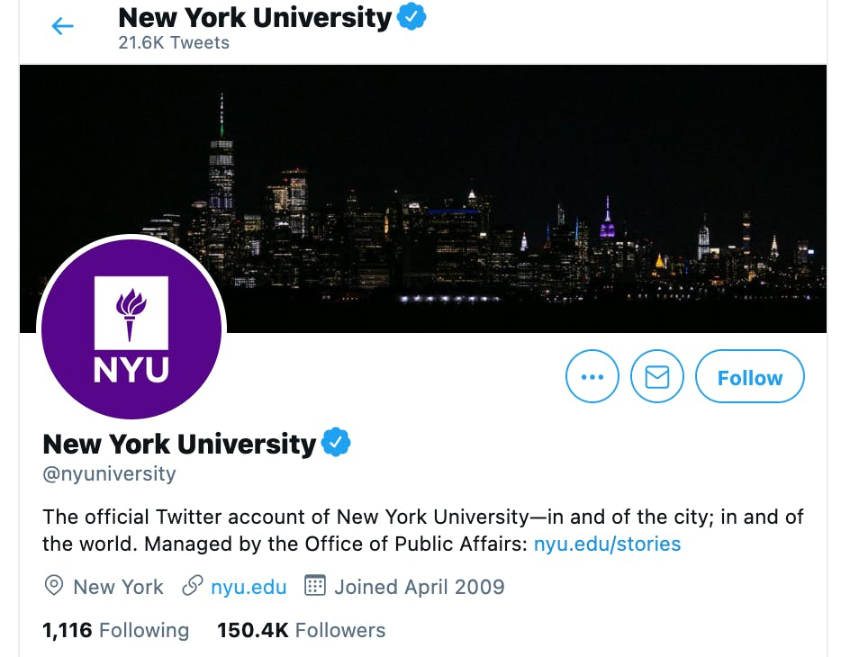 Twitter account for New York University showing bio with verified checkmark