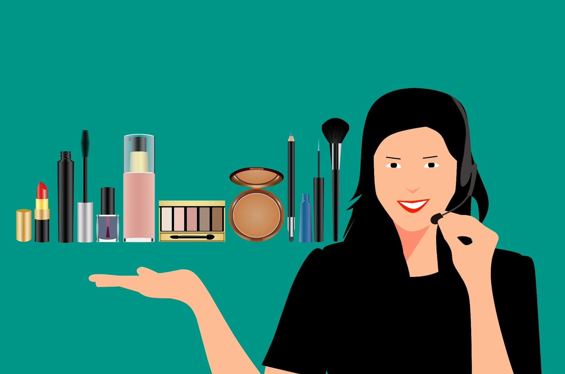 A cartoon illustration of a woman with a headset on and several makeup products she is marketing over the phone besides her