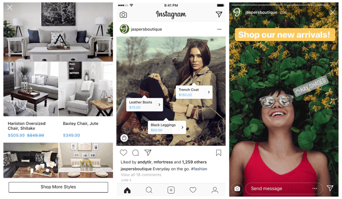 L to R: Instagram Collection feed ad for furniture, shoppable tags on a feed post for Jasper's Boutique, and a shoppable tag on an Instagram Story for the same boutique