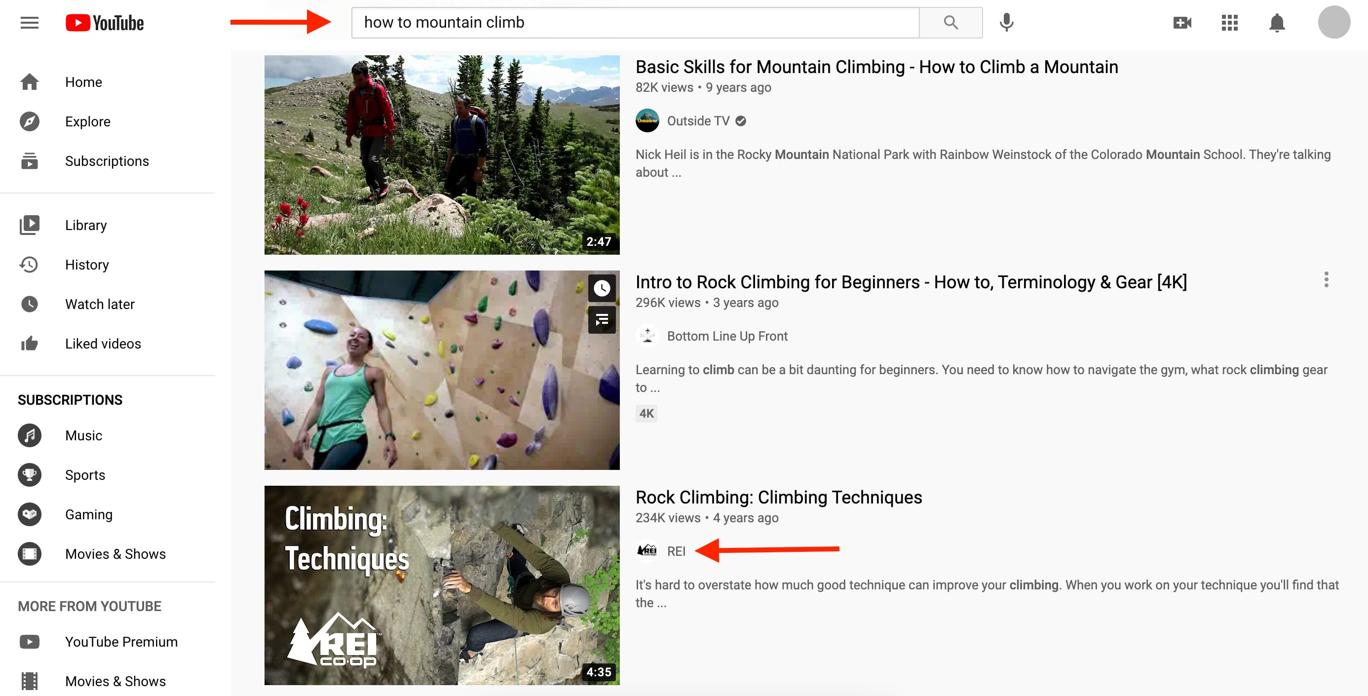 Search results for YouTube query How to Mountain Climb
