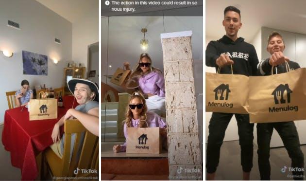 TikTok influencers doing the Menulog delivery dance