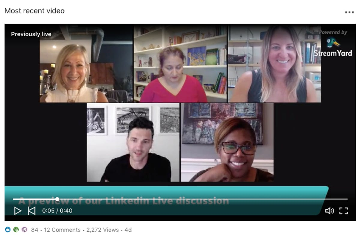An example of a LinkedIn video post by Meltwater showcasing snippets of a Zoom discussion between 5 users