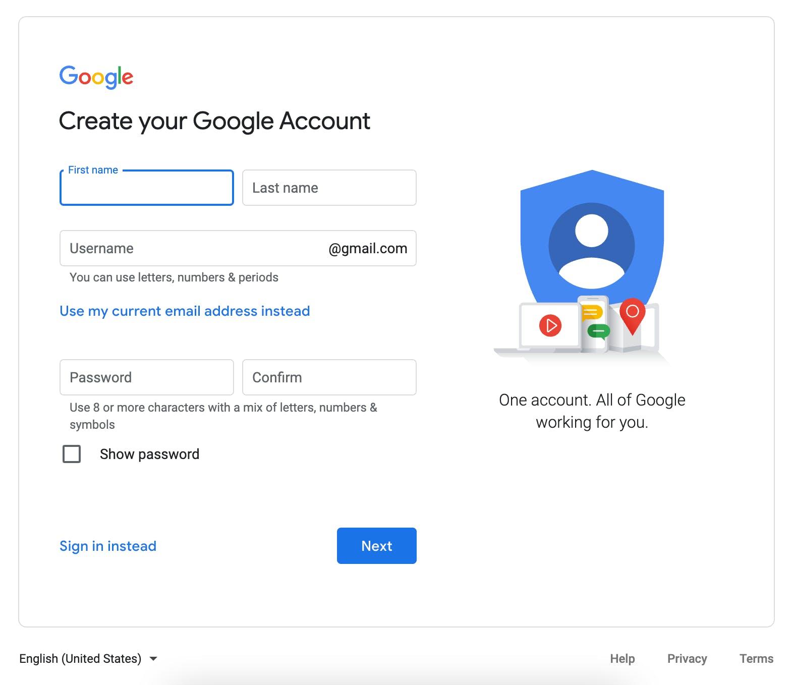 Final screen during Google create an account process