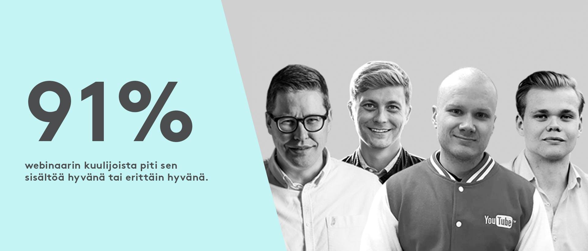 Webinaarin puhujat Lauri Vuohensilta, Matti Perkkiö, Akusti Niskanen ja Sami Suhonen