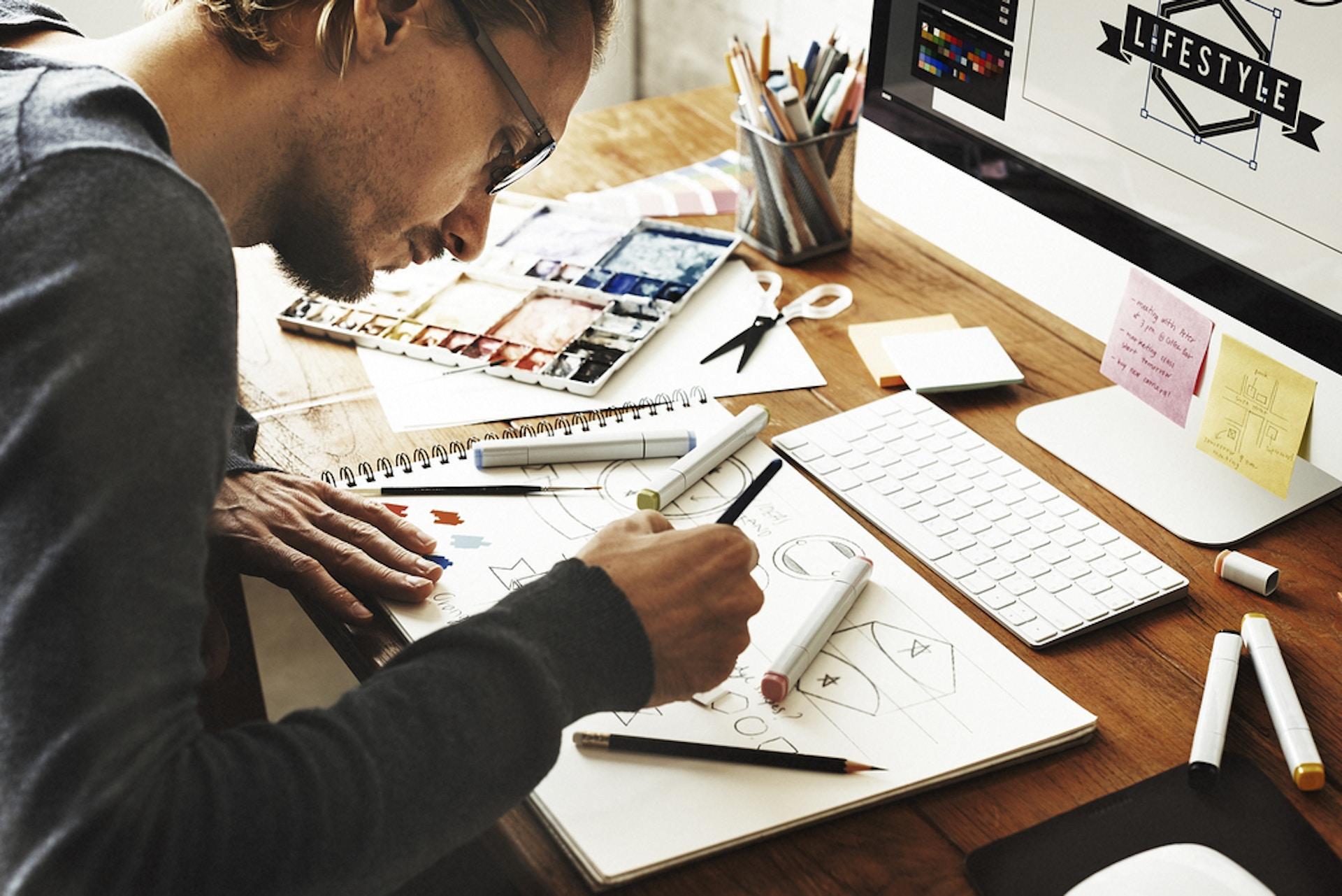 Designer working on his desk