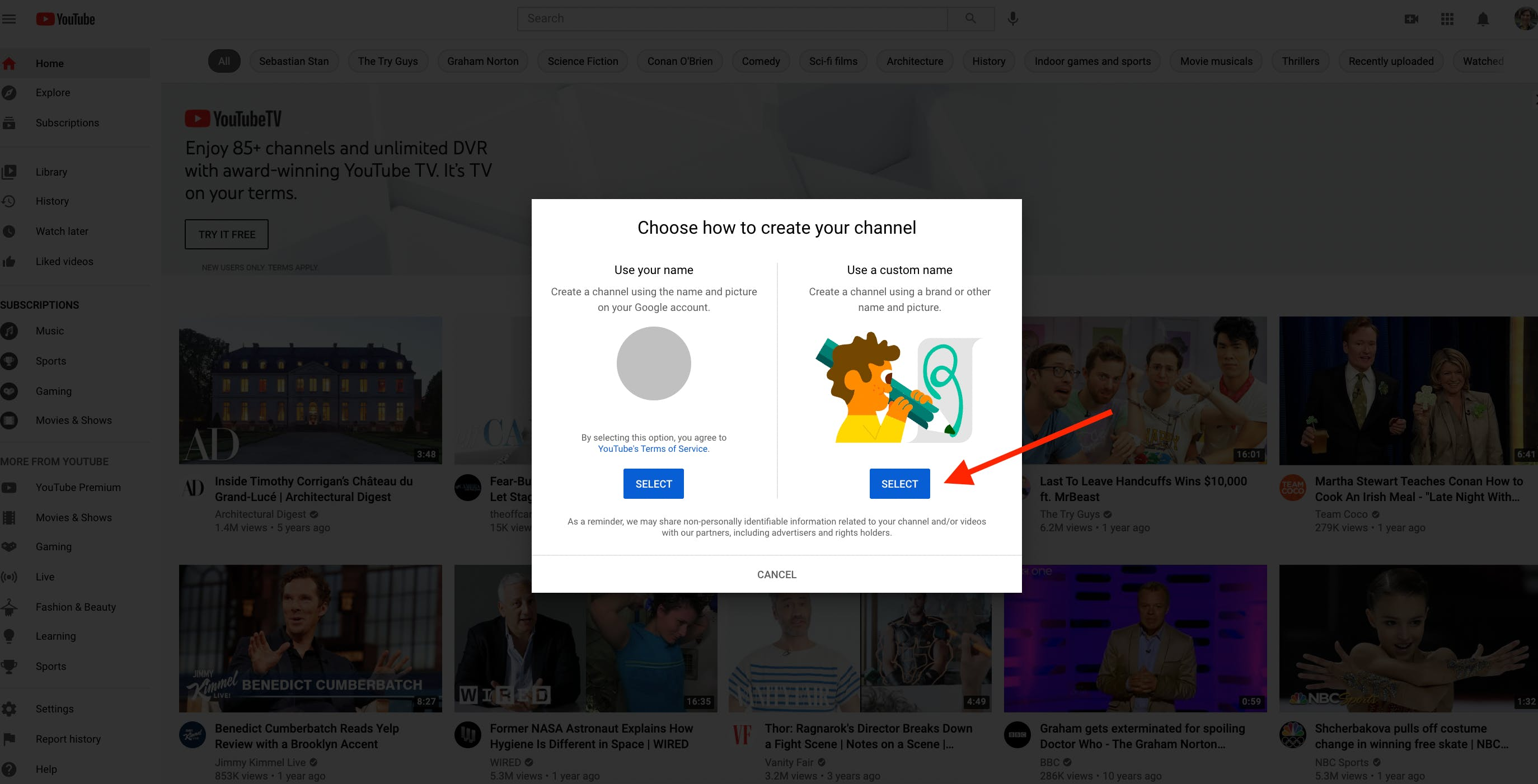 Second popup during YouTube channel set up process
