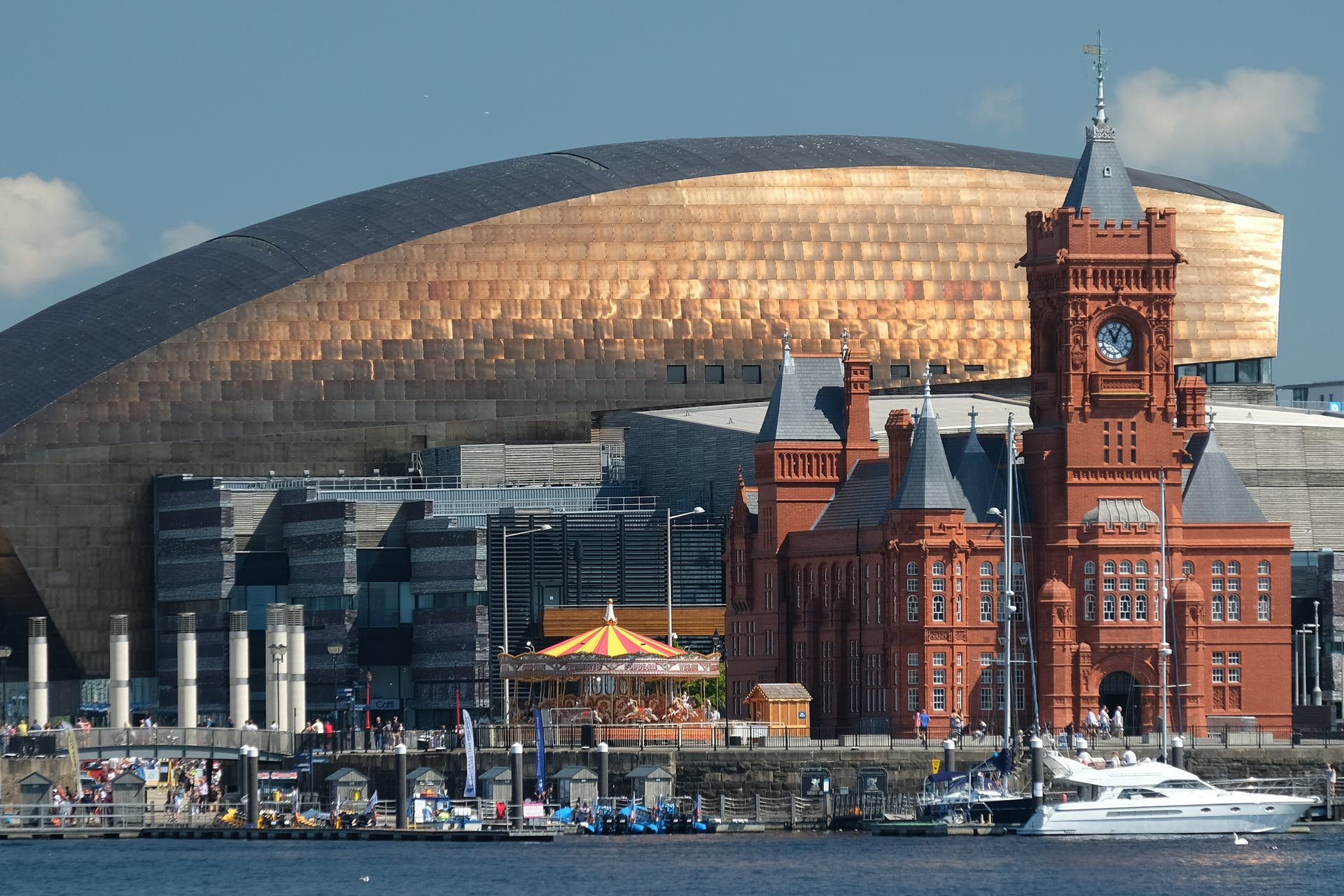 Wales' skyline of Cardiff Bay and Millenium Centre.
