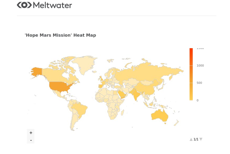 meltwater heat map on hope mars mission