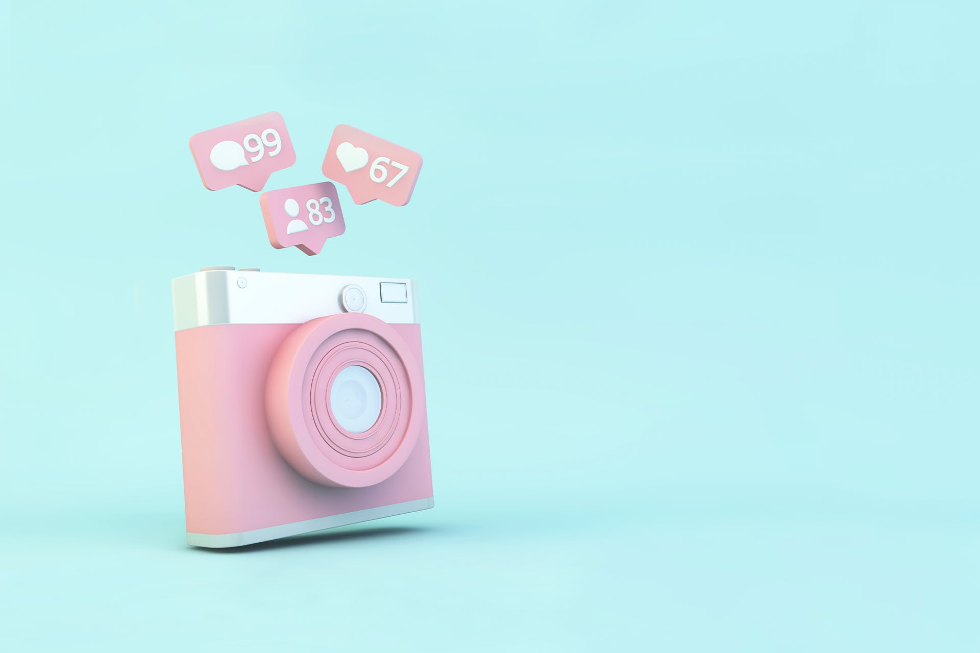 Pink 3D Instagram logo camera with like icons. Hero image for How to do Instagram Marketing blog.