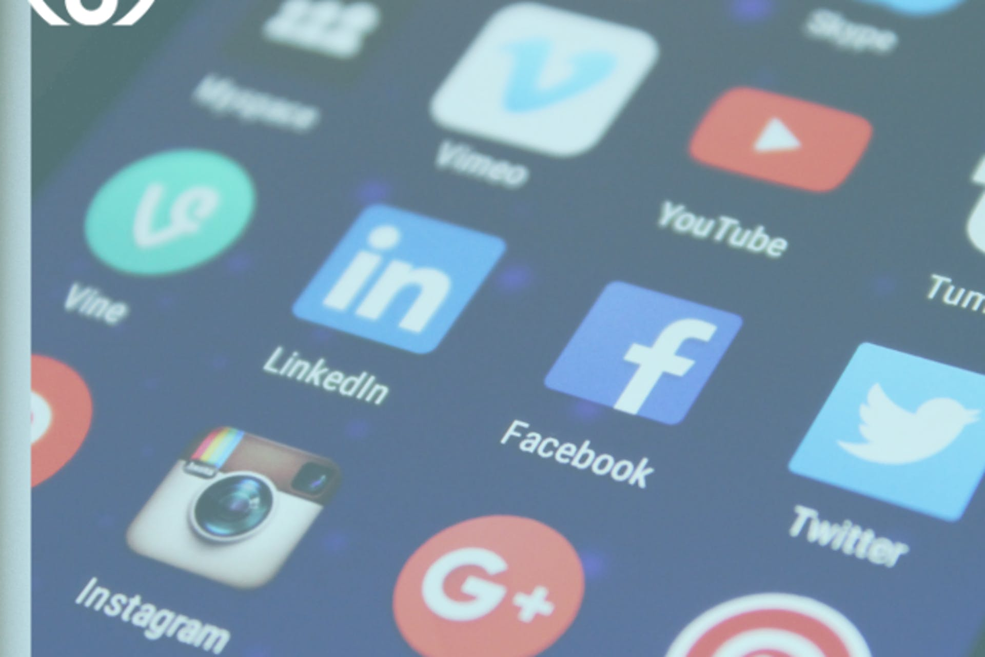 A screen with numerous social media and cell phone icons on it.