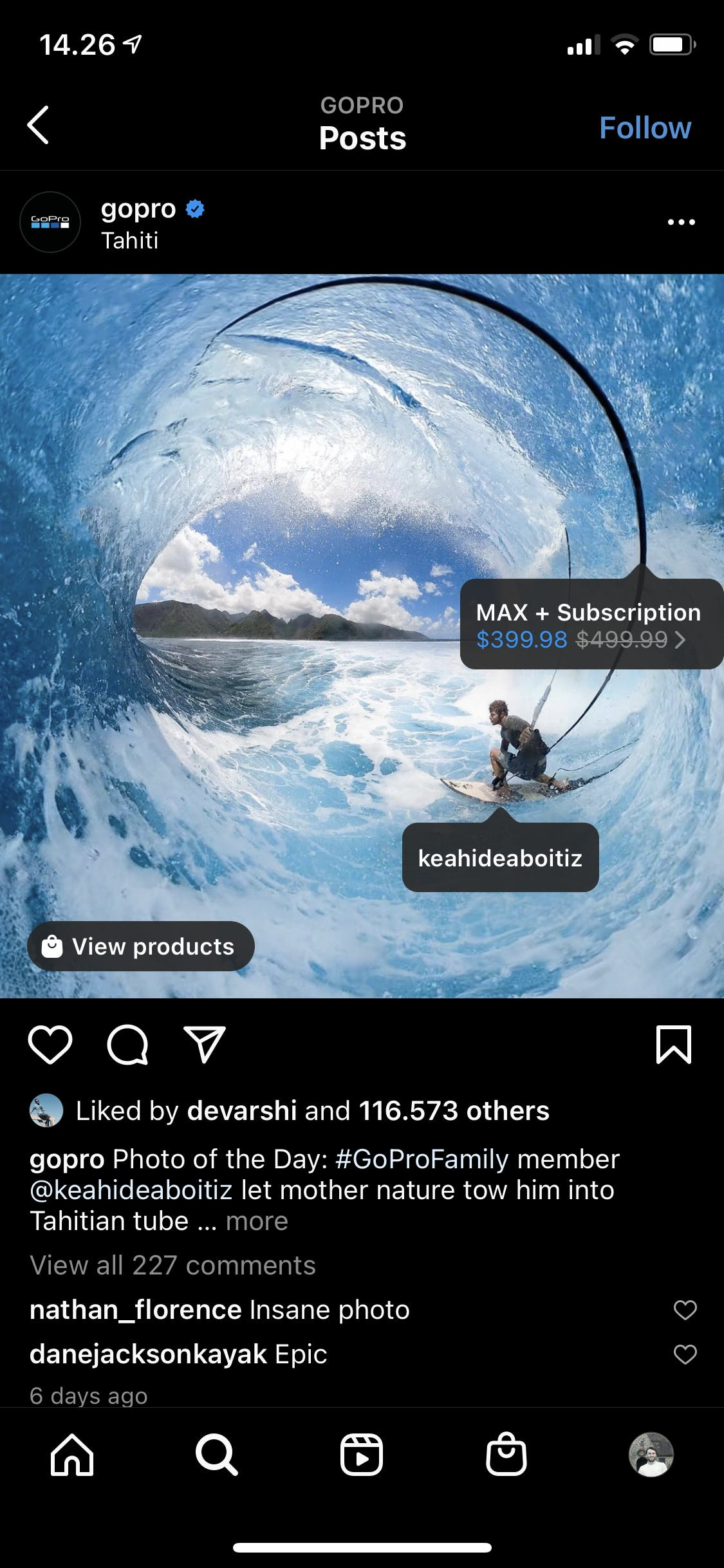 an example of a shoppable post on Instagram from GoPro