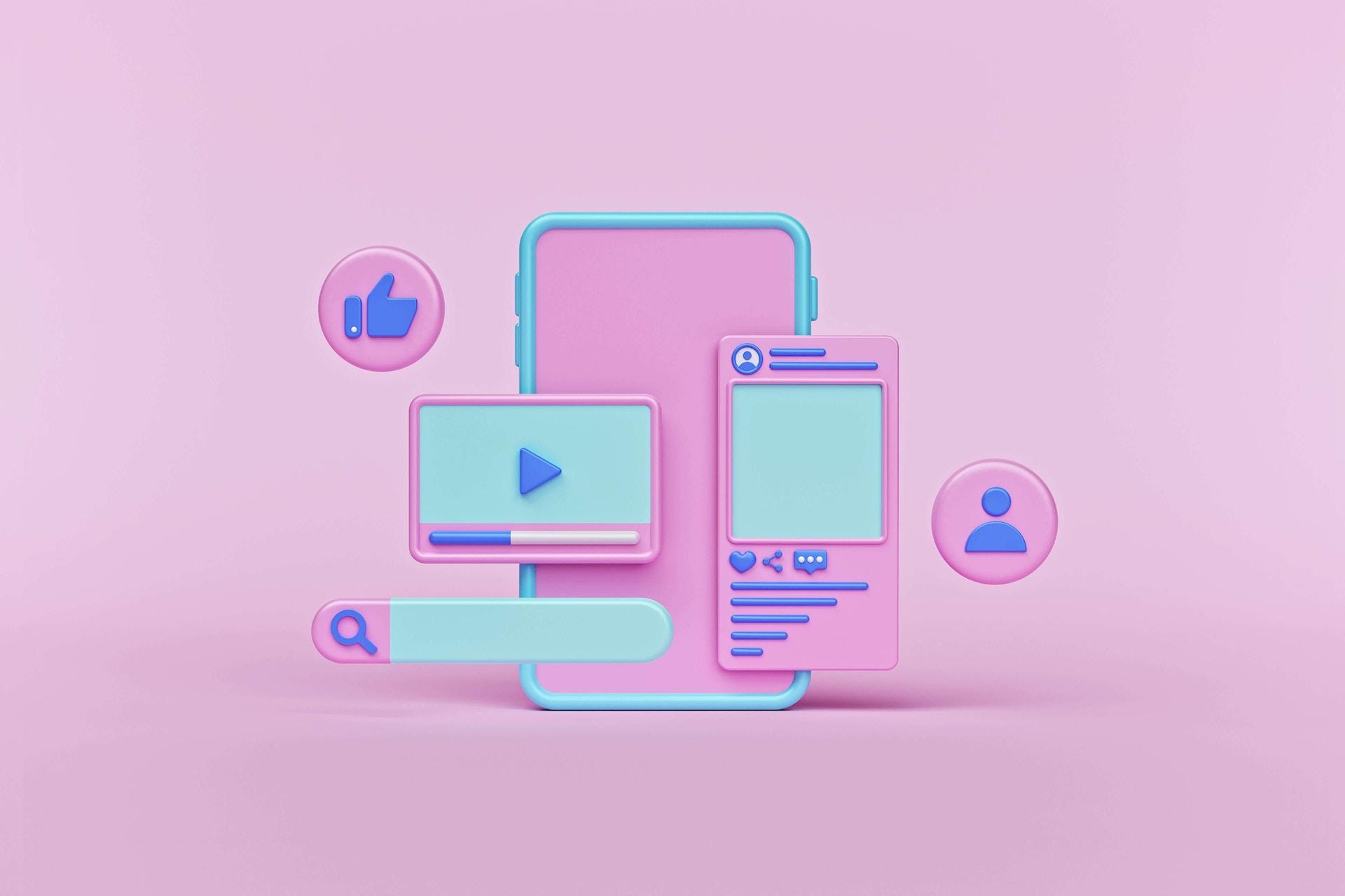 Man sieht einen pinken Hintergrund mit knetartigen Social Media Elementen darauf. Beispielsweise einen Videoplayer, ein Like, Einen Post und eine Suche. Das Bild ist das Titelbild unseres Beitrags zu Social Media Walls.