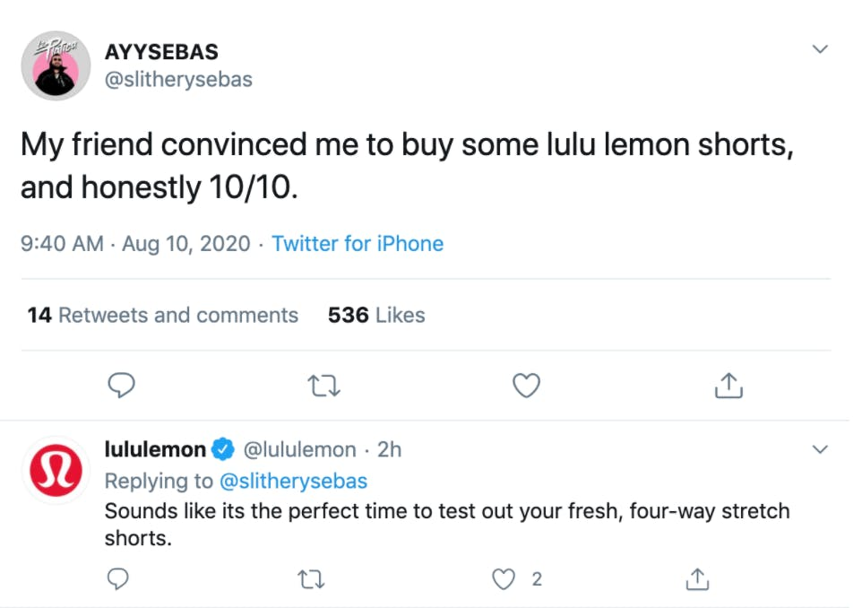 A review posted on social media about lululemon