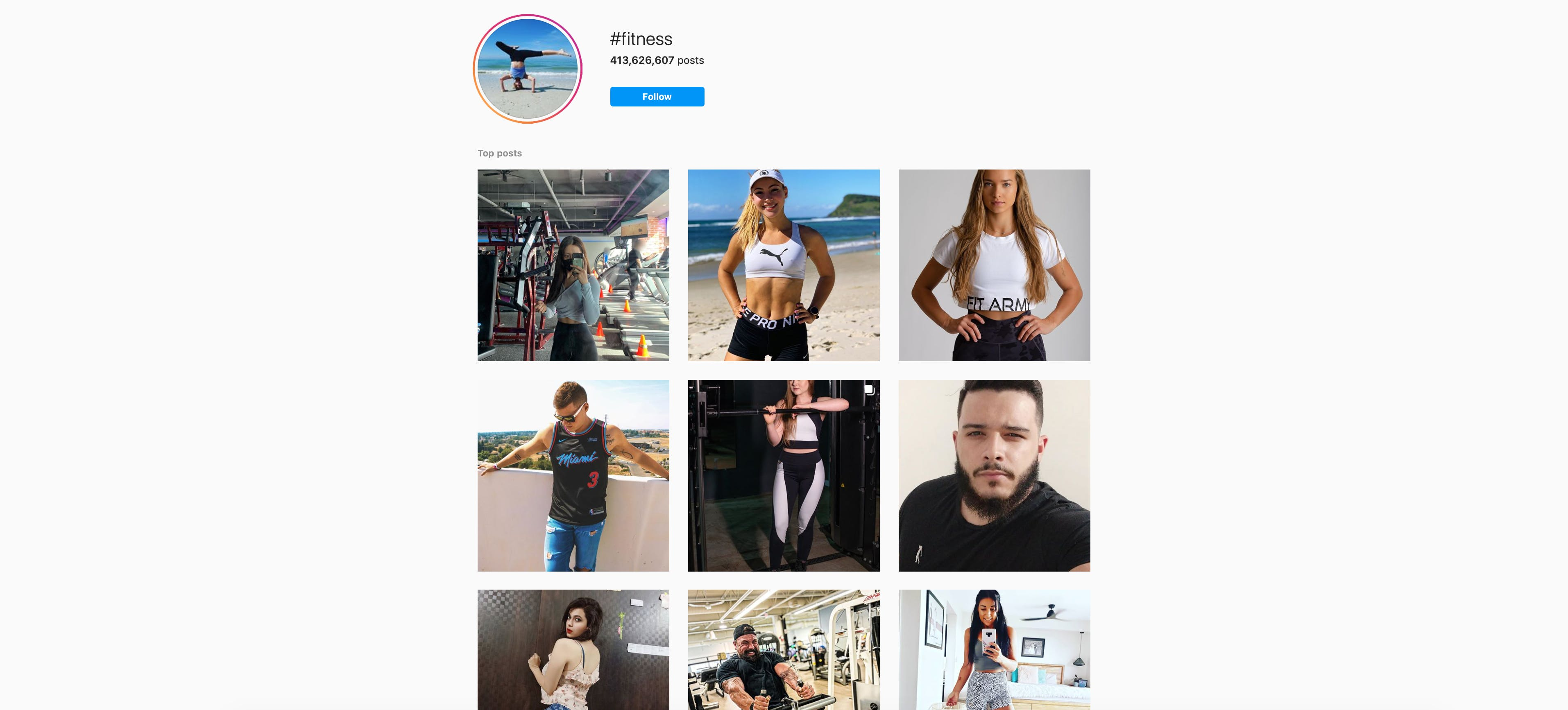 The feed for the #fitness hashtag on Instagram: users are able to view any post that includes the tag, including public Instagram Stories or sponsored posts.