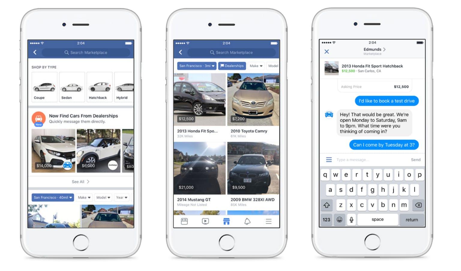 capture d'écran de 3 téléphones mobiles utilisant le marché Facebook pour acheter et vendre des voitures