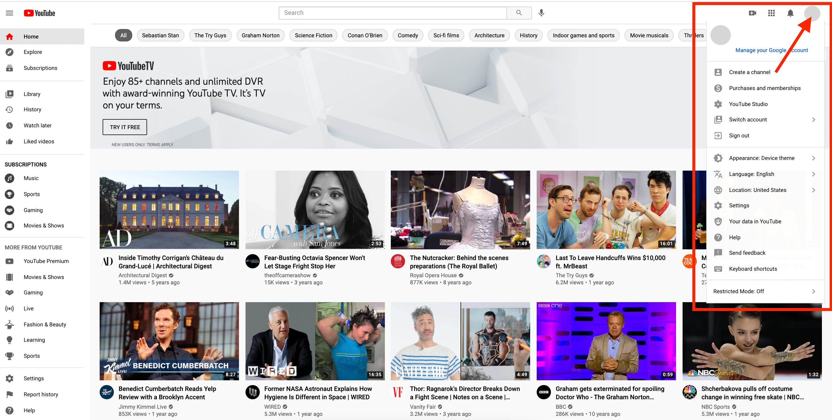 Image showing pop-up menu from clicking YouTube profile image from the YouTube homepage