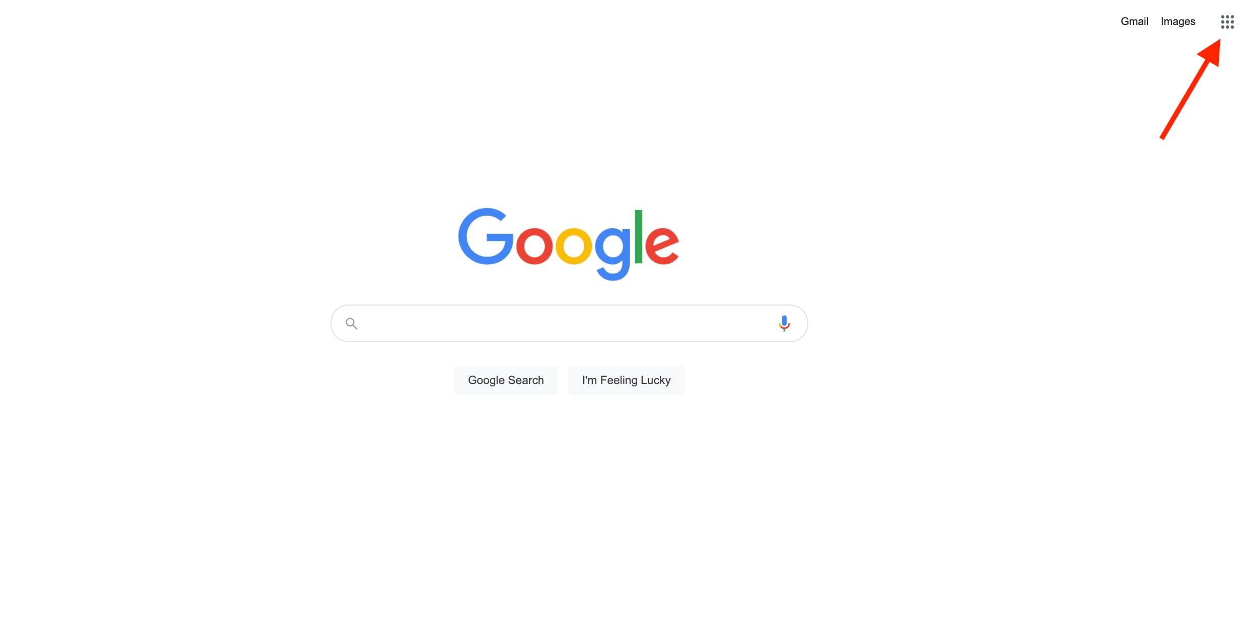 Google search home page, large white space with Google logo in center