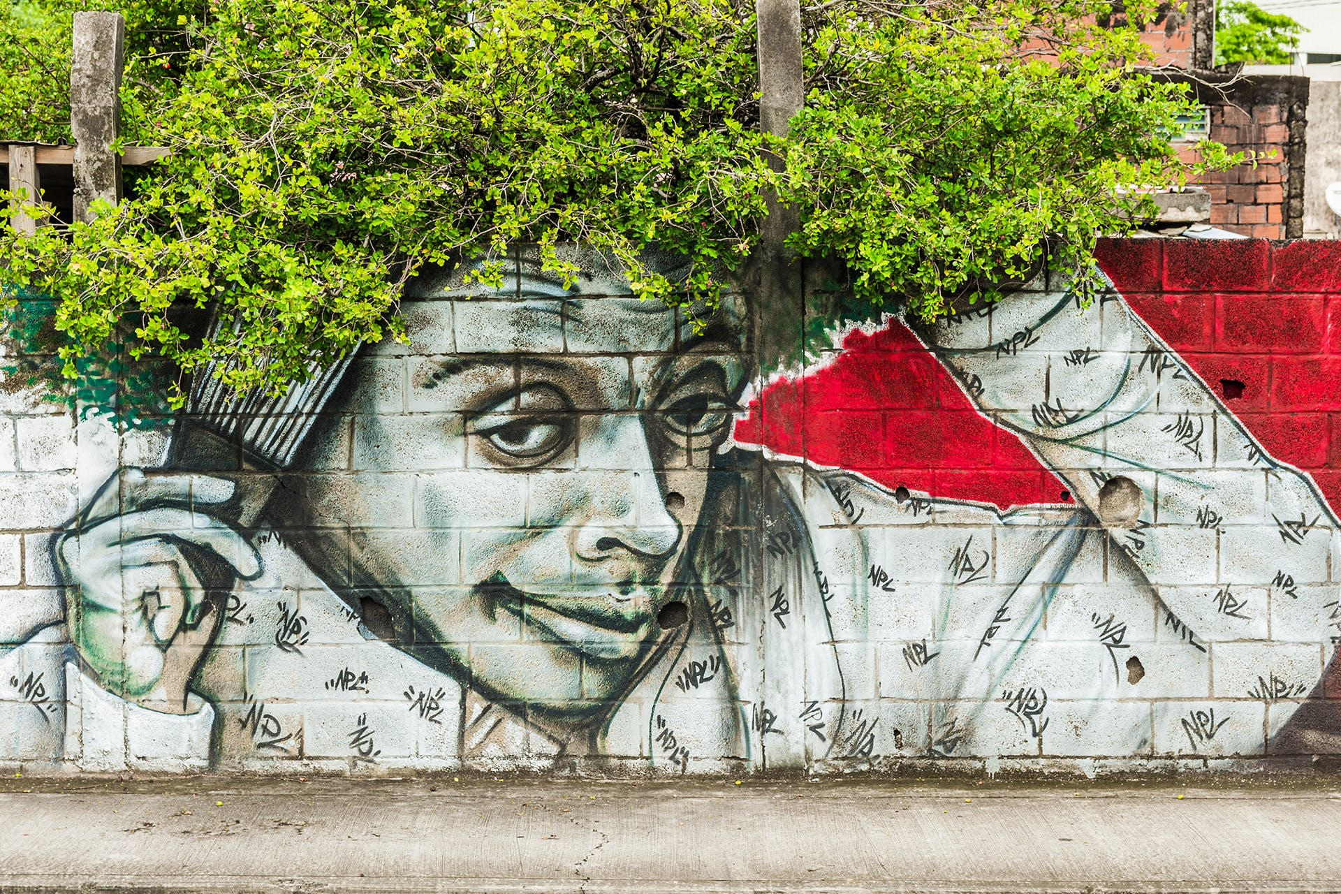 A graffiti-covered wall with the image of a man creates the illusion that a tree's foliage is the person's hair. This is an example of the tactics often used in guerrilla marketing