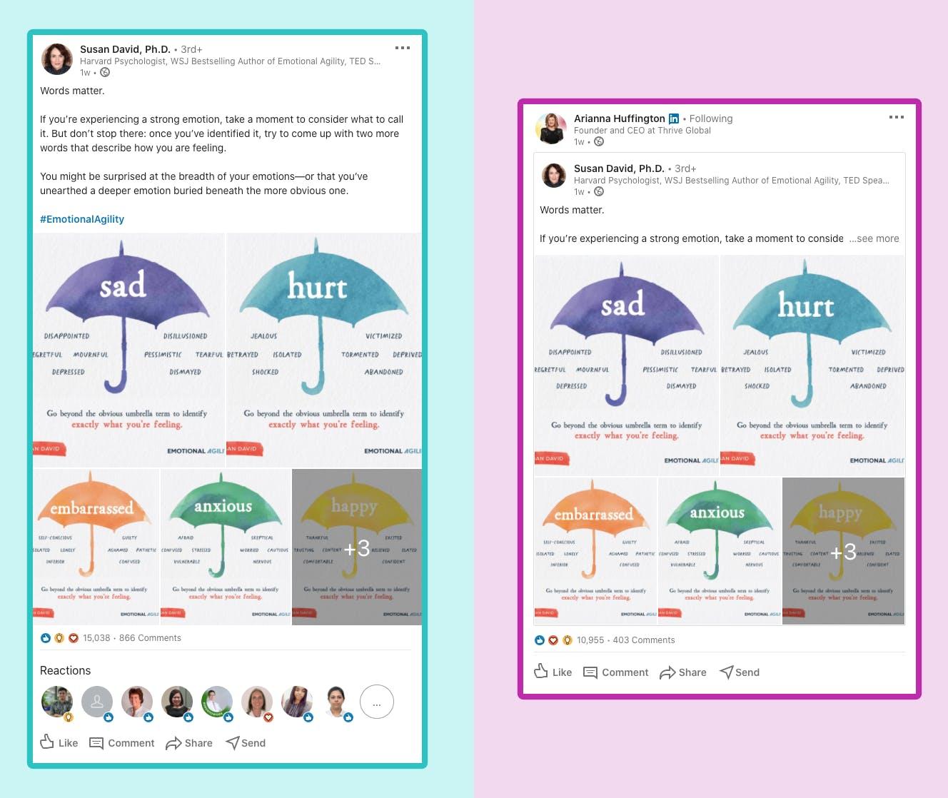 Vous pouvez voir deux screenshots de conversation sur Linked In.