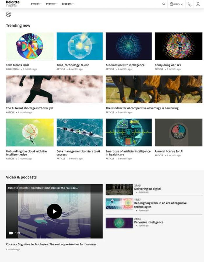 Example of multimedia B2B content marketing from Deloitte Insights