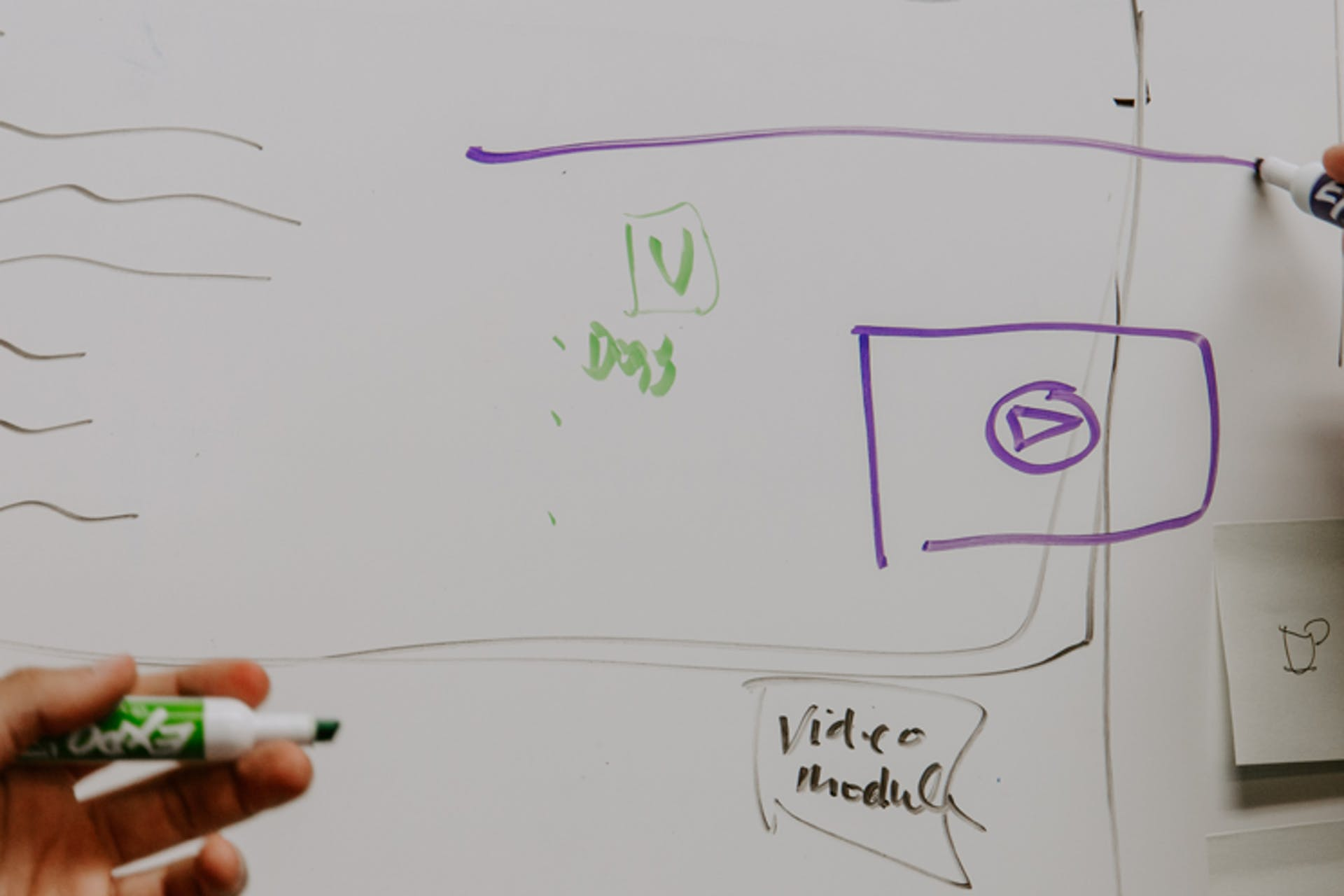 two people writing on a whiteboard with purple and green markers