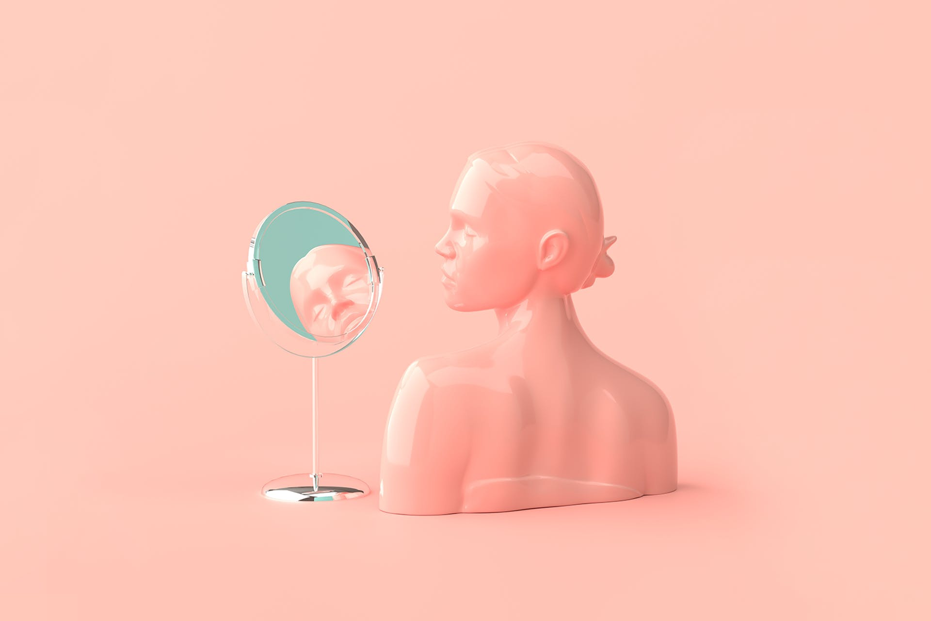 pink mannequin woman looking into mirror